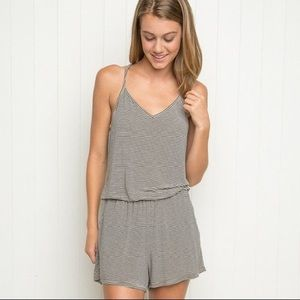 Brandy Melville Joyce Gray White Striped Romper
